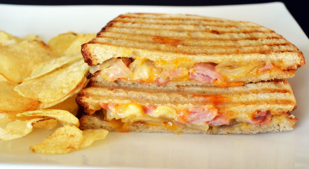 Caramelized Onion Ham and Cheese Panini - Whisking Mama